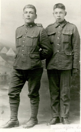 Wellington Pedoniquotte and Wilford Laurier Elliot, courtesy of Chippewas of Nawash Unceded First Nation Maadookii Seniors Centre. Via Bruce Remembers.