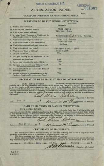 Attestation Paper Dobson, Earl Alvin 651307 Page 1