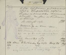 Diagram and Notes re Percy Smith Amputation and Accidental Wounding