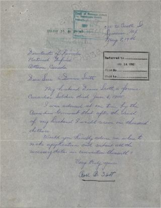 Initial Inquiry Letter from Rose B Scott re Denis Scott