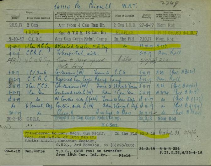 Service Record Showing that he was attached to 18th but never served with the 18th with hi lighting