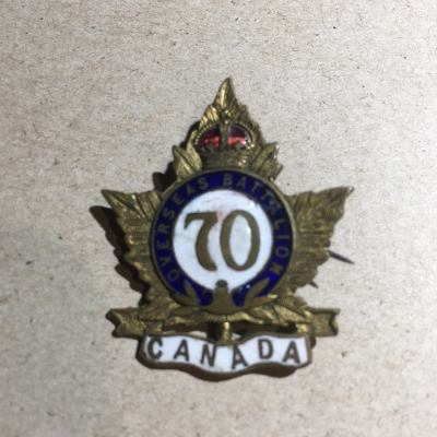 "Lilly's ""sweetheart"" pin that she would wear showing she had someone serving with the 70th Battalion."