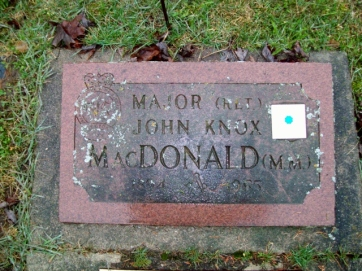 53821 18th Battalion John Knox MacDonald MM 30th Wellington Regiment Elora Municipal Cemetery