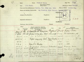 FGCM Entry in service record Bramley Henry 53534 AWL West Sandling