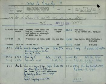 FGCM Entry in service record Bramley Henry 53534