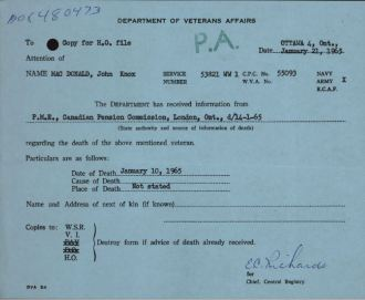 Veterans Death Card