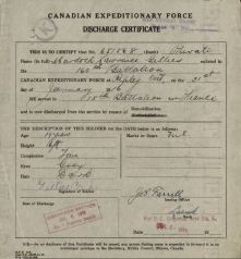 CEF Discharge Certificate Murdock Gillie 651568 showing age at discharge of 19 years old