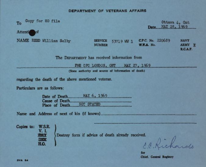 Dept of Veterans Affairs Notification of Death for William Selby Reed 53719