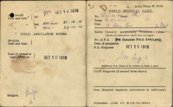 Field Medical Card Side 1 for Private John Ritchie 3131334
