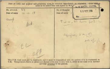 Field Medical Card Side 2 for Private John Ritchie 3131334