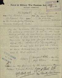 Naval and Military War Pensions Act 1915 Form re will of Private Alexander Ritchie 406384