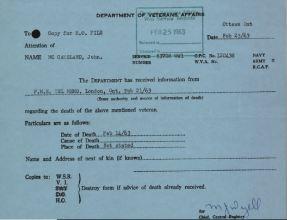 Veterans Affairs Canada Death Card for McCausland John G 53708