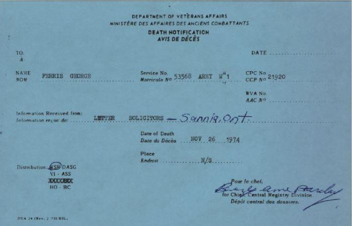 Veterans Affairs Death Card Ferris George 53568