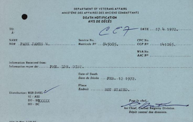 Veterans Affairs Death Notification James Wheeler Park 845085