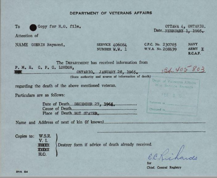 Veterans Affairs Notification of Death Raymond Guerin 406084
