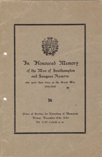 A993.015.001 cover In Honoured Memory, Men of Southampton and Saugeen