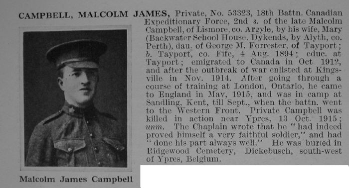 Campbell M J Pte 53323 18th Canadian Infantry (Western Ontario Regiment) Obituary De Ruvignys Roll O