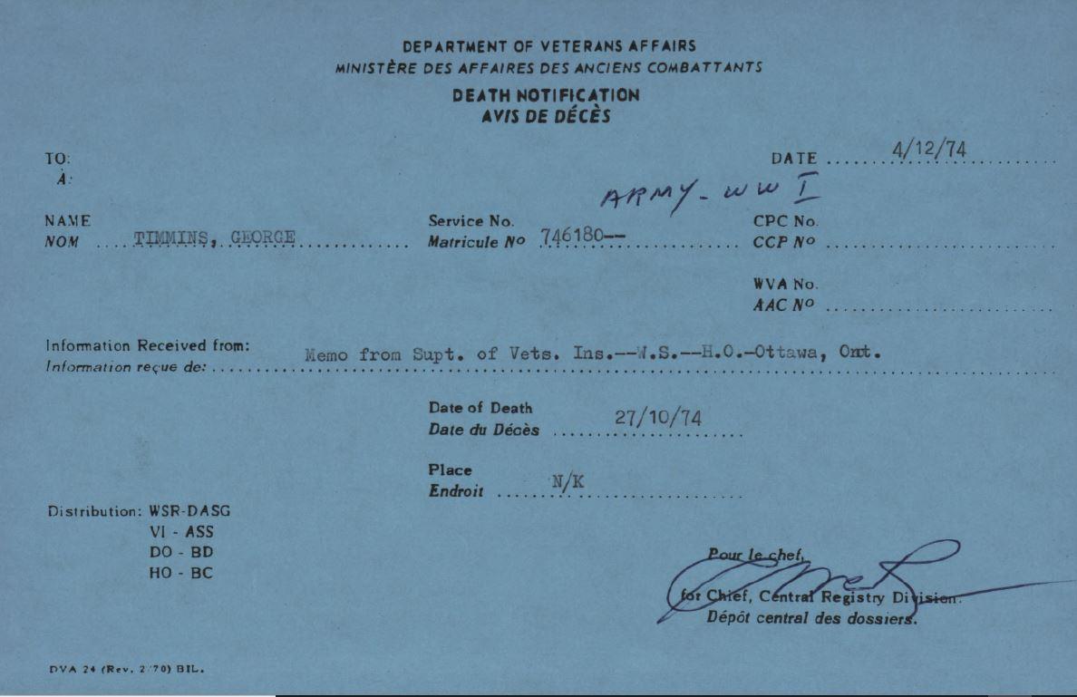 Death Notice Veterans Affairs George Timmins 746180