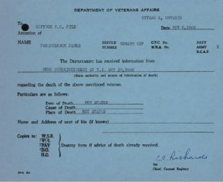 Dept of Veterans Affairs Notice of Death J Farquharson 928489