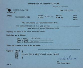 Dept of Veterans Affairs Notice of Death J Farquharson 928489