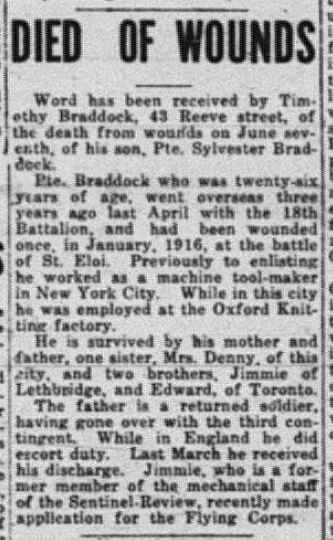 Died of Wounds Braddock Sentinel Review june 10 1918 Page 1