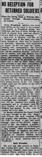 No Reception for Wounded Soldiers Daily Sentinel Reveiw November 5 1917 Page 1 not complete