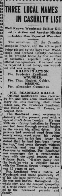 Private F Readhead Daily Sentinel Review September 25 1918 Page 1