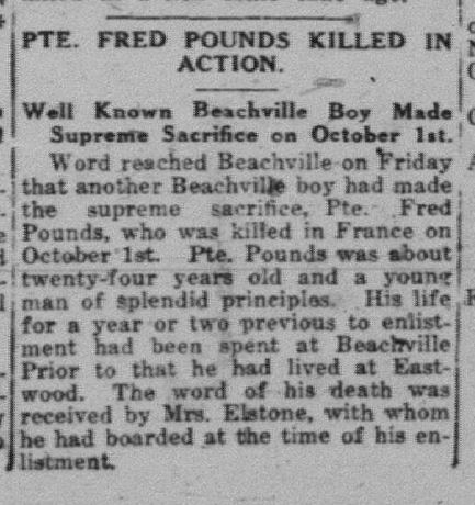 Pte F E Pounds 2453306 Daily Sentinel Review October 23 1918 Page 1