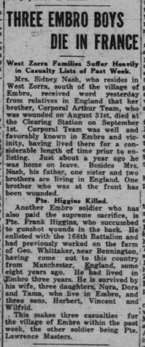 Pte Frank Higgins Daily Sentinel Review September 27 1918 Page 1