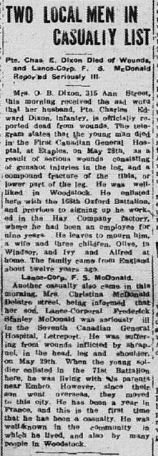 Two Local Men in Casualty List Sentinel Review May 1 1918 Page 1 for Charles E Dixon and F S McDonald