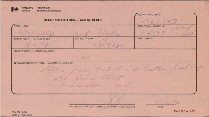 Veteran Affairs Death Notification