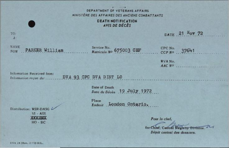 Veterans Death Notice William Parker 675003