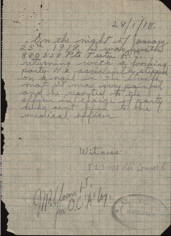 witness statement in service record of Pte. R.G. Teeter, reg. no. 880558 re. accident.