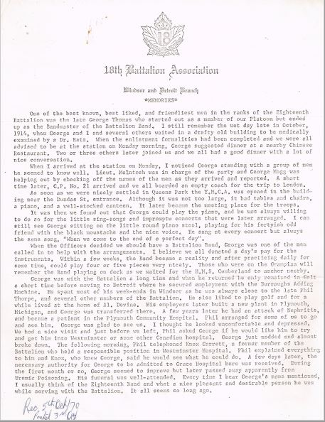 18th Battalion Association Memory about George L Thomas Reg No 53975