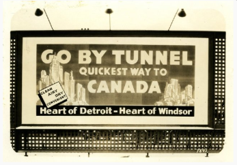 1930s era sign promoting the Detroit-Windsor Tunnel