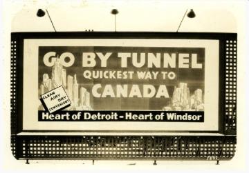 1930s era sign promoting the Detroit-Windsor Tunnel