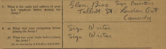 Form showing where Dickson was or would work after the war that he filled out upon discharge