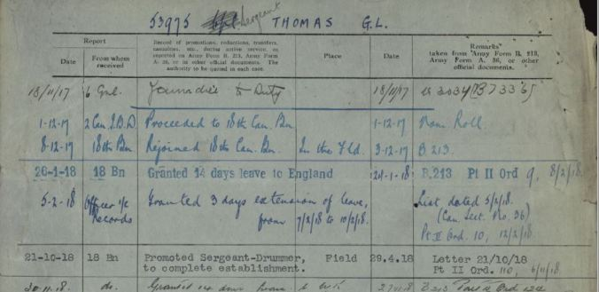 Promoted Sergeant Drummer George L Thomas Reg No 53975