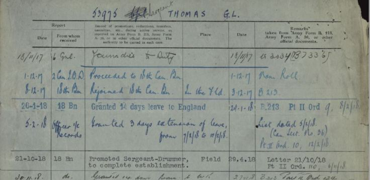 Promoted Sergeant Drummer George L Thomas Reg No 53975