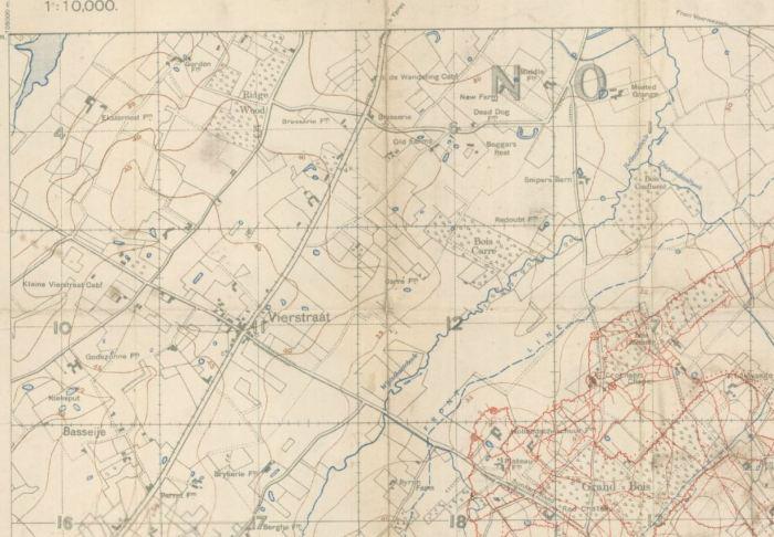 Screen Shot of Map re Vierstraat 1916