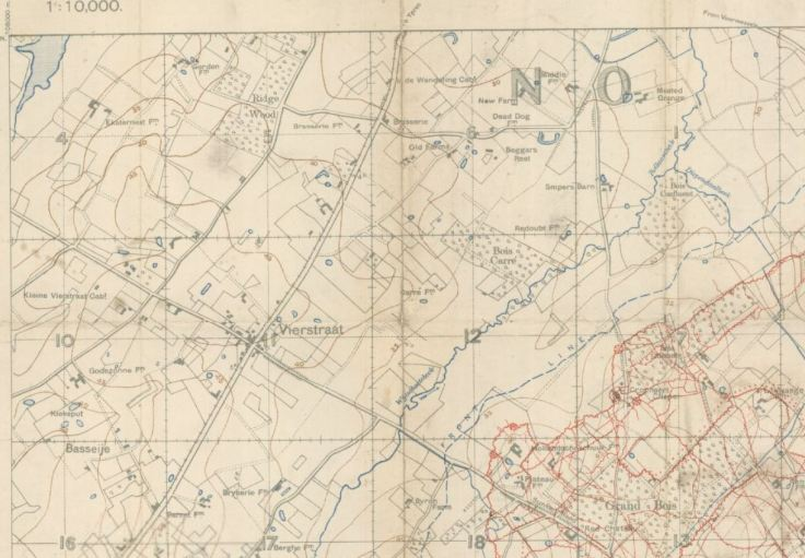 Screen Shot of Map re Vierstraat 1916