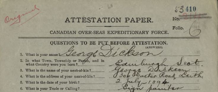 Top of attestation paper showing trade as sign painter