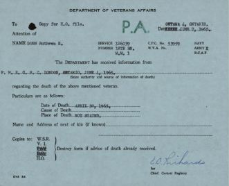 Veterans Canada Death Notice 126039