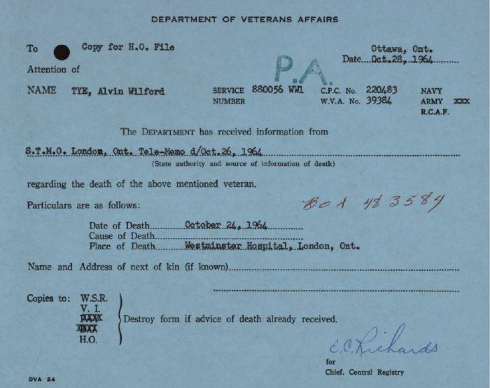 Veterans Canada Notice of Death A W Tye 880056
