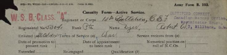 War Service Badge Class A Stamp in Dyers Service Record