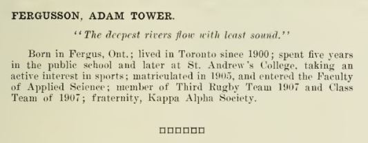 Adam Tower Fergusson from the Torontonenis 1909 bio