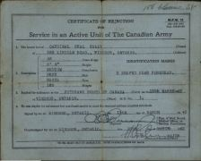Certificate of Rejection for Service in an Active Unit if the Canadian Army Kealey