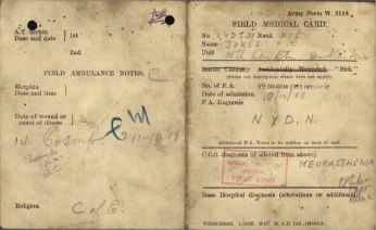Field Medical Card Jone, Frederick Thomas Page 1 and 4