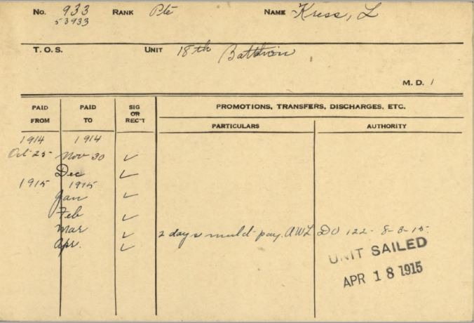 Lorenzo Kress Service Card showing AWL
