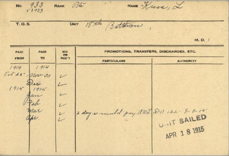Lorenzo Kress Service Card showing AWL